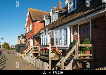 Riverside houses, Faversham Creek, Faversham, Kent, England, United Kingdom - Stock Photo
