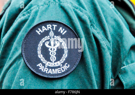 Northern Ireland. 26th November, 2015. Badge on the arm of a paramedic part of the UK National Ambulance Resiliance - Stock Photo