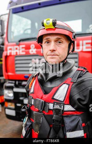 Northern Ireland. 26th November, 2015. An officer from the Northern Ireland Fire and Rescue Service Enhanced Capability - Stock Photo