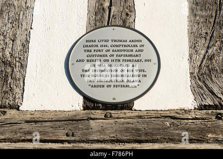 Thomas Arden murder plaque on timber-framed Arden Cottage, Abbey Street, Faversham, Kent, England, United Kingdom - Stock Photo