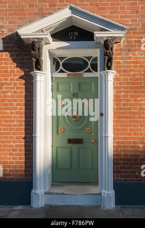 Georgian doorway, Abbey Street, Faversham, Kent, England, United Kingdom - Stock Photo