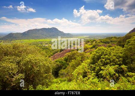 Landscape view of Sri Lanka from Mihintale Temple, Sri Lanka, Asia - Stock Photo