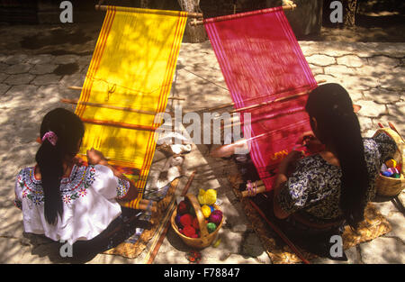 The weavers of San Antonio Aguas Calientes (near Antigua) are among the best in all of Guatemala. - Stock Photo