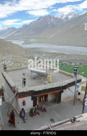 Key Monastery (or Kee, Ki, Kye), Spiti Valley - rooftop view of the Spiti river valley and snow capped peaks of - Stock Photo