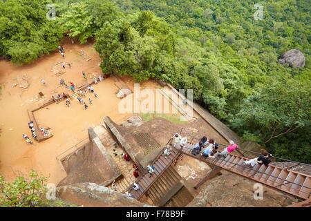 Sri Lanka - Sigiriya, stairs of Lion's Gate to the ancient fortress, UNESCO - Stock Photo