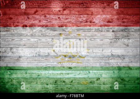 A vignetted background image of the flag of Tajikistan onto wooden boards of a wall or floor. - Stock Photo