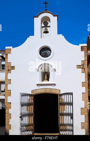 old whitewashed church in tossa de mar spain - Stock Photo