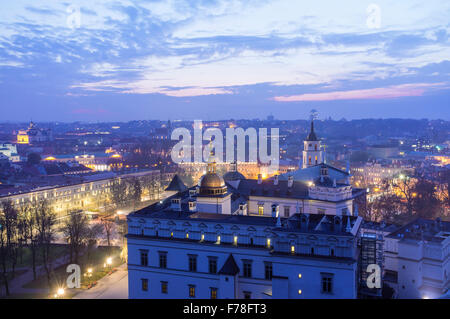 Palace of the Grand Dukes of Lithuania and city overview at dusk from above. Vilnius, Lithuania, Europe - Stock Photo