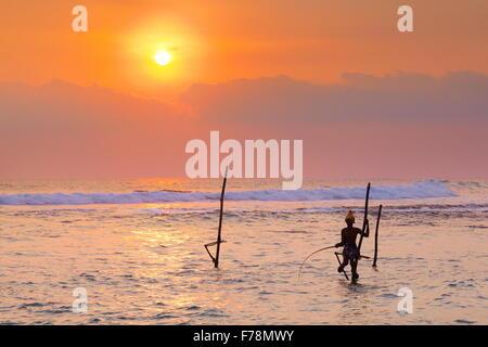 Sri Lanka - local fisherman at sunset time, Asia