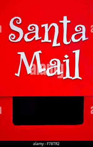 Santa Claus Mail Box on Christmas (Xmas) holiday. Concepts and Ideas Letter writing to Santa - Stock Photo