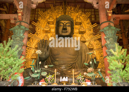 Nara, Japan at the Todaiji Buddha. - Stock Photo