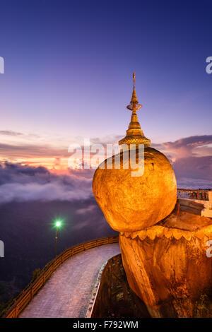 Golden rock of Kyaiktiyo, Myanmar. - Stock Photo