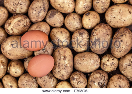Two eggs in unbroken shells on top of some uncooked new potatoes. The ingredients for eggs and chips (UK) or fries - Stock Photo