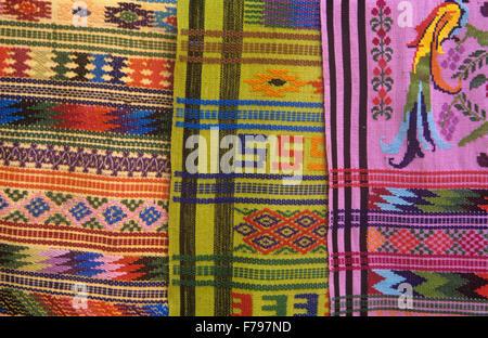 Textiles are the featured handicraft in San Antonio Aguas Calientes (near Antigua), Guatemala. - Stock Photo