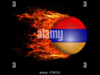 Concept of speed - Flag with a trail of fire - Armenia - Stock Photo