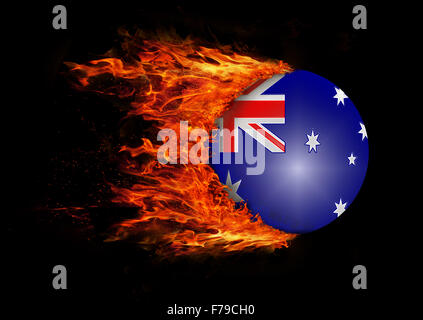 Concept of speed - Flag with a trail of fire - Australia - Stock Photo