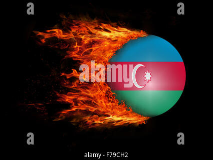 Concept of speed - Flag with a trail of fire - Azerbaijan - Stock Photo