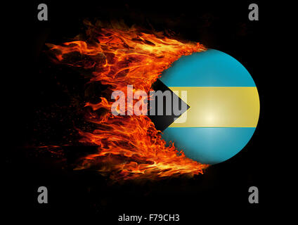 Concept of speed - Flag with a trail of fire - Bahamas - Stock Photo