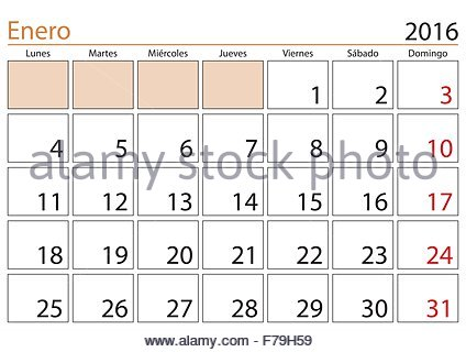 January month in a year 2016 calendar in spanish. Enero 2016 Stock ...