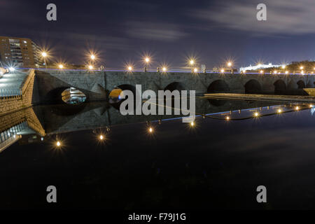 Night image of a Segovia bridge over the manzanares river - Stock Photo
