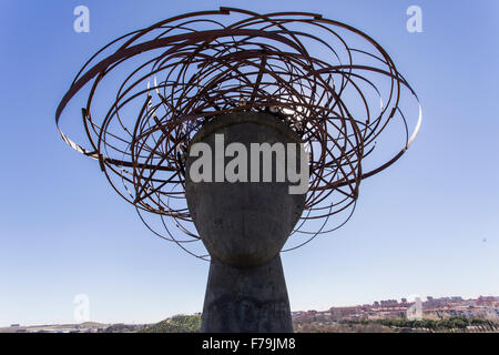 sculpture of the head of Ariadne in the Manzanares Park - Stock Photo