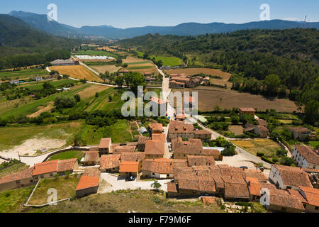 General view of spanish town.  Frias, Province of Burgos - Stock Photo