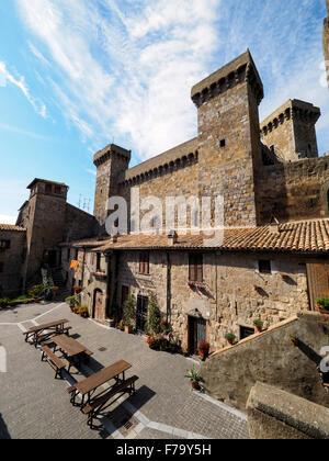 the castle (Rocca Monaldeschi della Cervara) in the town of Bolsena - Viterbo, Italy - Stock Photo