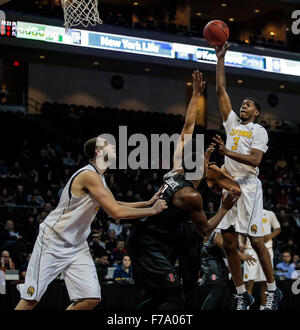 Las Vegas, Nevada, USA. 26th Nov, 2015. California G # 3 Tryone Wallace hit 16 points during NCAA Men's Basketball - Stock Photo
