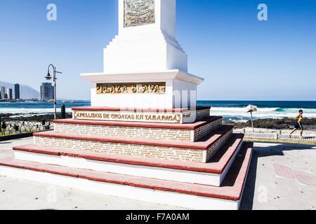 Monument to Croatian immigrants in Tarapaca region, in Plaza Slava, at Cavancha Beach (Playa Cavancha). - Stock Photo