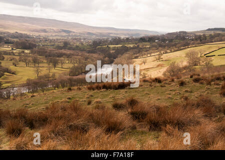 Scenic view of countryside around the River Tees near Middleton in Teesdale,Durham - Stock Photo