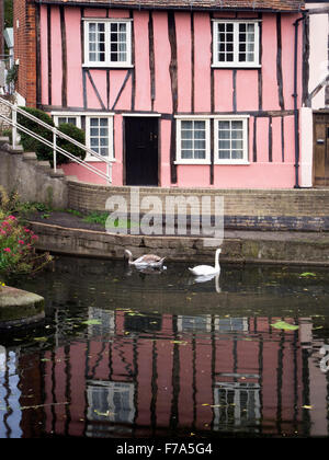 Colourful Half Timbered Buildings on Riverside Walk at North Bridge Colchester Essex England - Stock Photo