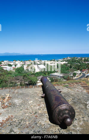 View of Isabel Segunda from Fortin Conde de Mirasol, Vieques Island, Puerto Rico - Stock Photo