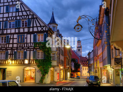 Market street with Blaserturm in the historic centre, Ravensburg, Upper Swabia, Baden-Württemberg, Germany - Stock Photo