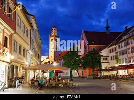 Marienplatz with Blaserturm in the historic centre, Ravensburg, Upper Swabia, Baden-Württemberg, Germany - Stock Photo