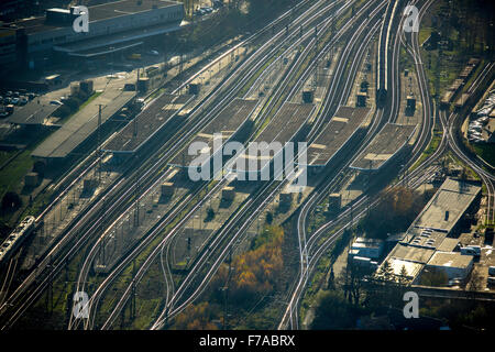Central railway station Oberhausen, rails against the light, Oberhausen, Ruhr, North Rhine Westphalia, Germany, - Stock Photo