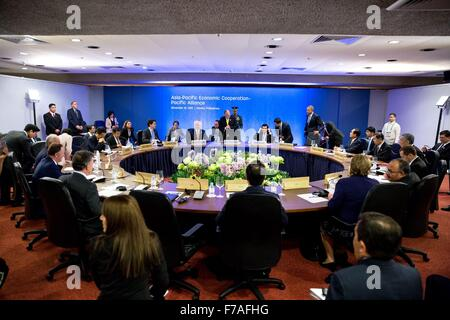 U.S. President Barack Obama participates in an APEC Summit meeting with the Pacific Alliance members November 19, - Stock Photo