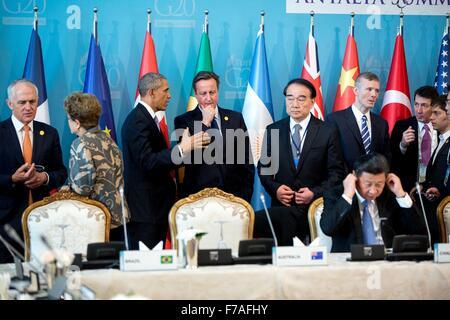 U.S. President Barack President Barack talks with British Prime Minister David Cameron during the G20 Summit meeting at Regnum Carya Resort November 15, 2015 in Antalya, Turkey. Stock Photo