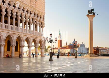 St. Mark's Square and church San Giorgio Maggiore, Venice, UNESCO World Heritage Site, Veneto, Italy - Stock Photo