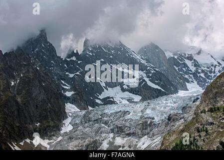 Aiguille Noire de Peuterey, part of the Peuterey ridge to the summit of Mont Blanc and Aiguille Blanche de Peuterey, - Stock Photo