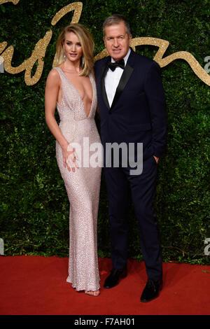Rosie Huntington-Whiteley and Mario Testino at the British Fashion Awards 2015 in London - Stock Photo