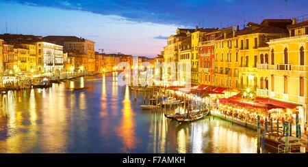 Venice view from the Rialto Bridge at night, Grand Canal, Venice, Veneto, Italy, UNESCO - Stock Photo