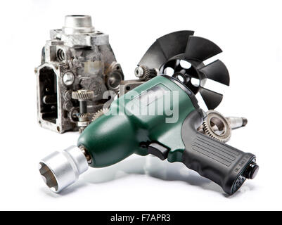 pneumatic, air impact wrench and nozzles - Stock Photo