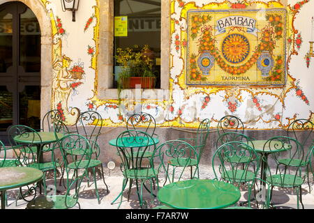 Bar decoration sign, Old Town in Taormina, Sicily, Italy - Stock Photo