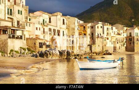 Sicily Island - Medieval houses on the seashore, Cefalu, Sicily, Italy - Stock Photo