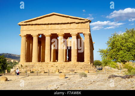 Sicily Island - Temple of Concordia, Valley of Temples (Valle dei Templi), Agrigento, Italy UNESCO - Stock Photo