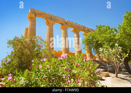 Temple of Hera in Valley of Temples (Valle dei Templi), Agrigento, Sicily, Italy UNESCO - Stock Photo