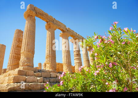 Temple of Hera in Valley of Temples (Valle dei Templi), Agrigento, Sicily, Italy UNESCO - Stock Photo