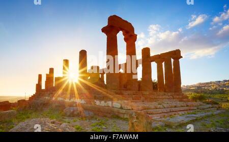 Temple of Hera in Valley of Temples (Valle dei Templi), Agrigento (Girgenti), Sicily, Italy UNESCO - Stock Photo