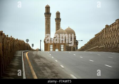 Road leading to Bibi-heybat mosque just outside Baku, capital of Azerbaijan - Stock Photo