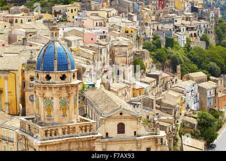 Ragusa Ibla, town view with Santa Maria Church, Sicily, Italy UNESCO - Stock Photo